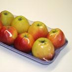 упаковка яблок на лотке в термоусадочную пленку